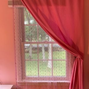 Two pink sheer curtain panels 84 X 40